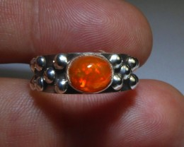 Sz 6 Natural Mexican Opal .925 Silver Taxco Handmade Boho Ring Jewelry