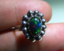 Sz 6.5 Natural Ethiopian Opal .925 Silver Taxco Handmade Boho Ring  Jewelry