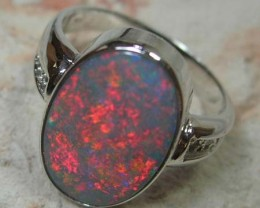 18K WHITE GOLD & GENUINE SOLID OPAL & DIAMOND RING
