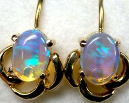 STUNNING COLOR FIRE CRYSTAL OPAL 18K GOLD EARRING 1CT SCA161