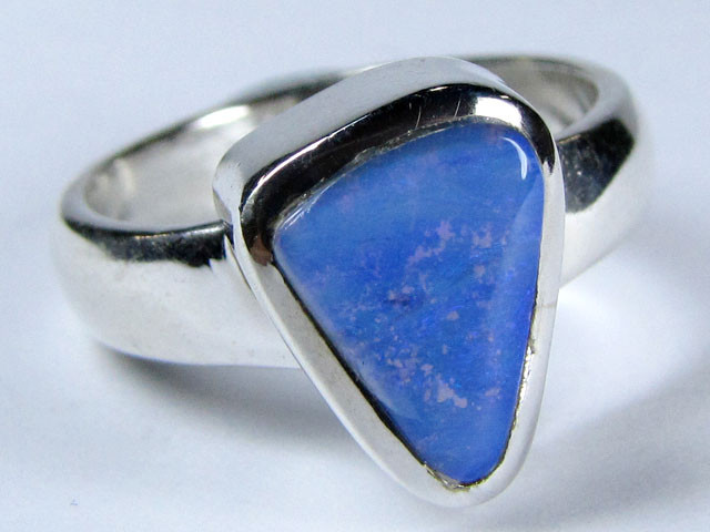 SOLID BOULDER   OPAL SILVER RING SIZE  8  CJ 1558